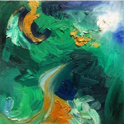 (CreativeWork) 10,000 emerald pools by Holly Whitelaw. oil-painting. Shop online at Bluethumb.