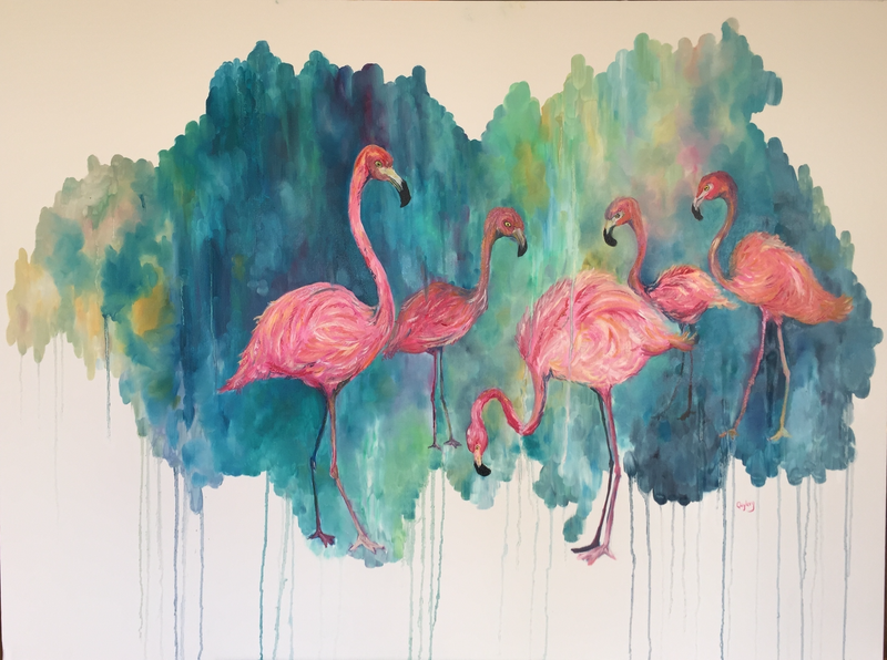 (CreativeWork) Serene Flamingos by Cherry Demir. oil-painting. Shop online at Bluethumb.