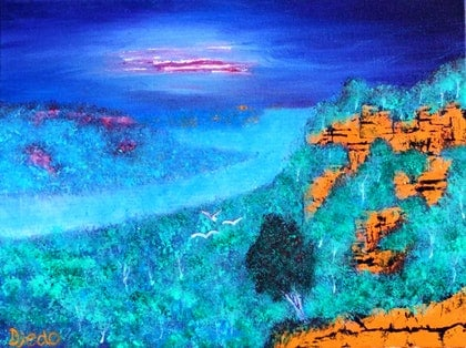 (CreativeWork) Escarpment by Peter Harte. arcylic-painting. Shop online at Bluethumb.