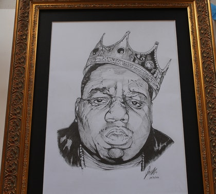 (CreativeWork) Biggie Smalls by Jarrod Grech. drawing. Shop online at Bluethumb.