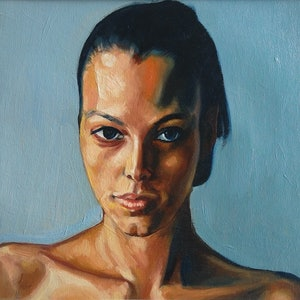 (CreativeWork) girl stares study 29 by gord anderson. oil-painting. Shop online at Bluethumb.
