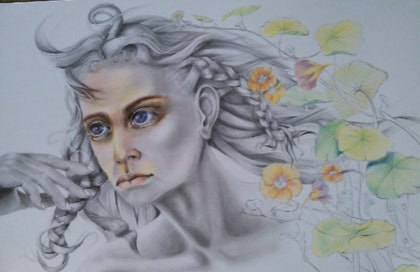 (CreativeWork) The tendrils of spring. by Lisa Gordon. drawing. Shop online at Bluethumb.