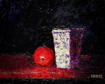 (CreativeWork) Vase - Part of the Dark Series by Peter Harte. oil-painting. Shop online at Bluethumb.