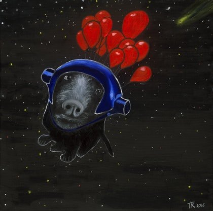 (CreativeWork) The Black Dog Finds Contentment by Tony King. print. Shop online at Bluethumb.