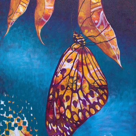(CreativeWork) Butterfly Heart by Michelle Gilks. Acrylic Paint. Shop online at Bluethumb.