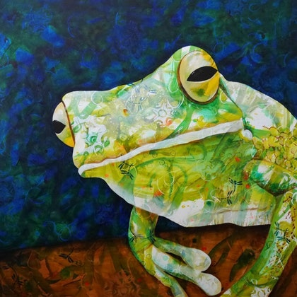 (CreativeWork) Being Green by Michelle Gilks. arcylic-painting. Shop online at Bluethumb.