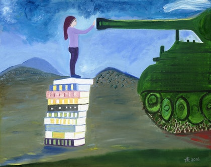 (CreativeWork) Page against the Machine by Tony King. oil-painting. Shop online at Bluethumb.