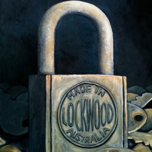 (CreativeWork) The Lock by Tank .. oil-painting. Shop online at Bluethumb.