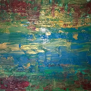 (CreativeWork) water lillies by kelly mathews. arcylic-painting. Shop online at Bluethumb.