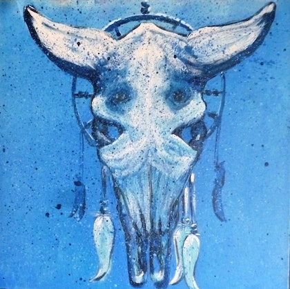 (CreativeWork) Midnight Cow by Melanie Doheny. arcylic-painting. Shop online at Bluethumb.