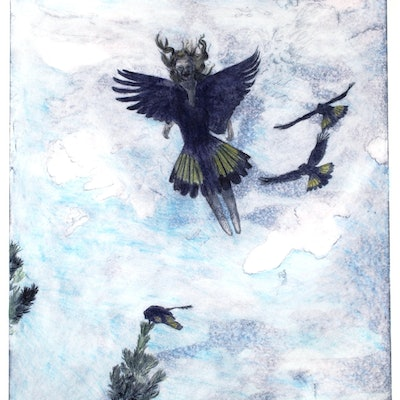 (CreativeWork) flying with Black Cockatoos Ed. 3 of 20 by sharon waldron blaschke. Print. Shop online at Bluethumb.