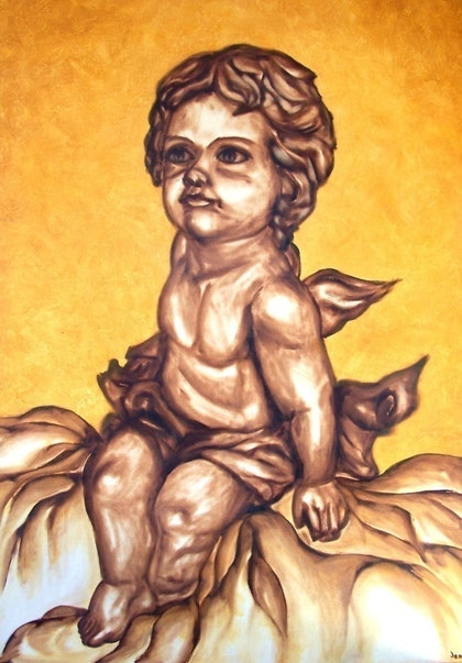 (CreativeWork) CHERUB 1 by jen searle. oil-painting. Shop online at Bluethumb.