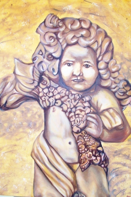 (CreativeWork) CHERUB 2 by jen searle. oil-painting. Shop online at Bluethumb.