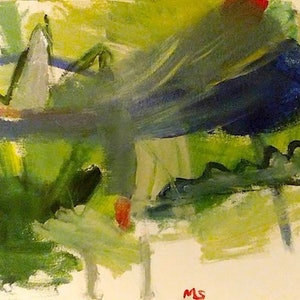 (CreativeWork) blue mountain by Matthew Simmons. arcylic-painting. Shop online at Bluethumb.