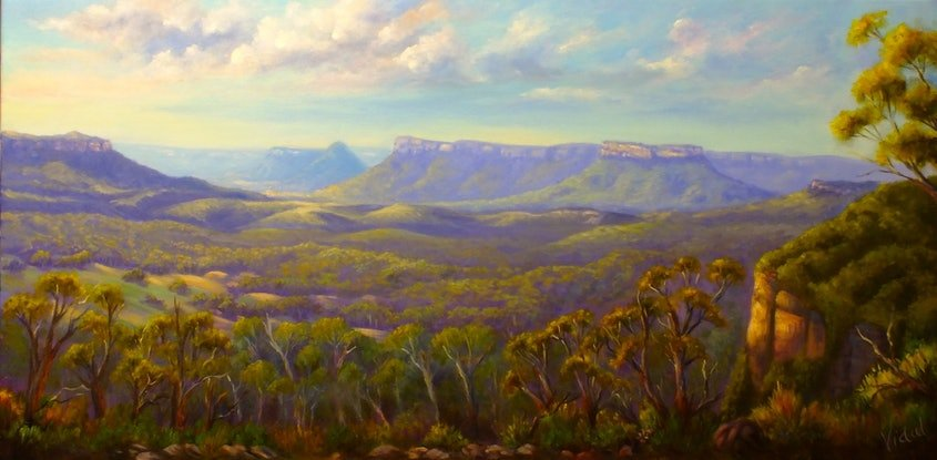 (CreativeWork) View on Capertee Valley from Pearsons Lookout, NSW by Christopher Vidal. Oil Paint. Shop online at Bluethumb.