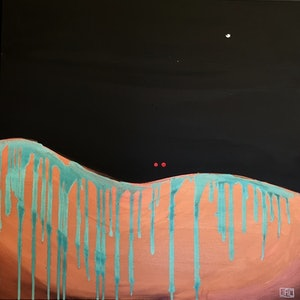 (CreativeWork) Night Plane (Copper) by Jac Clark. arcylic-painting. Shop online at Bluethumb.