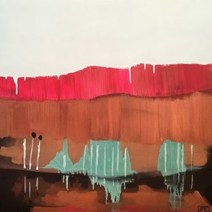 (CreativeWork) Under the Bridge (Copper) by Jac Clark. arcylic-painting. Shop online at Bluethumb.