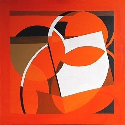(CreativeWork) Orange Mask by Glenn Launerts. arcylic-painting. Shop online at Bluethumb.