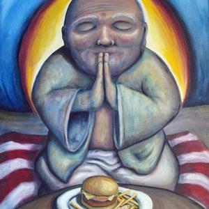 (CreativeWork) McBuddha by Tank .. oil-painting. Shop online at Bluethumb.