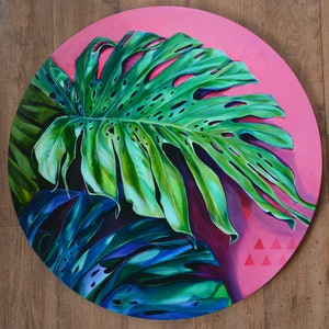 (CreativeWork) Monstera Magnetism by Tamara Armstrong. arcylic-painting. Shop online at Bluethumb.