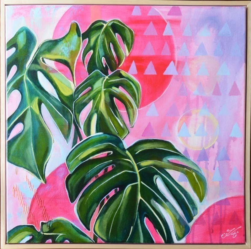 (CreativeWork) Plants on pink by Tamara Armstrong. arcylic-painting. Shop online at Bluethumb.