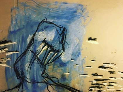 (CreativeWork) In the still, he sits, and divides. by Paul Solway. drawing. Shop online at Bluethumb.