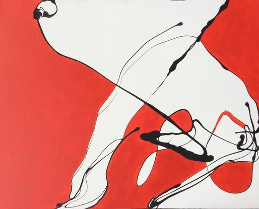 (CreativeWork) Black red white abstract 2 by Frank Martin. Acrylic. Shop online at Bluethumb.