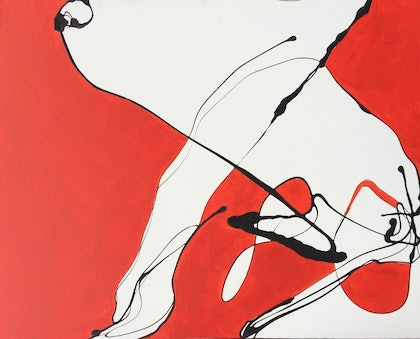 (CreativeWork) Black red white abstract 2 by Frank Martin. arcylic-painting. Shop online at Bluethumb.