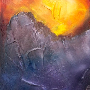 (CreativeWork) Sunset in the Mountains  by Victoria FitzGerald. mixed-media. Shop online at Bluethumb.