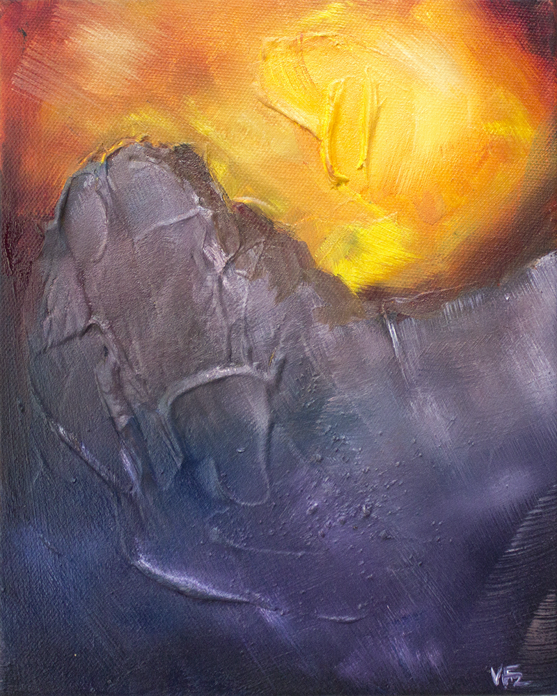 (CreativeWork) Sunset in the Mountains  by Victoria FitzGerald. Mixed Media. Shop online at Bluethumb.