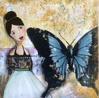 (CreativeWork) BUTTERFLY GIRL by Elle Gahan. mixed-media. Shop online at Bluethumb.