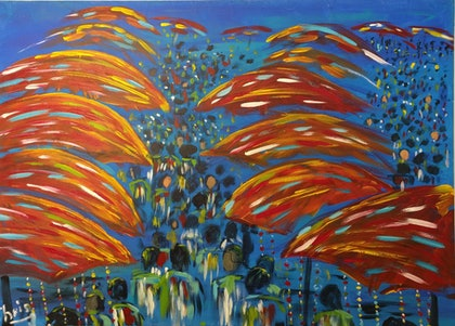 (CreativeWork) The Markets by Chris Herrmann. arcylic-painting. Shop online at Bluethumb.