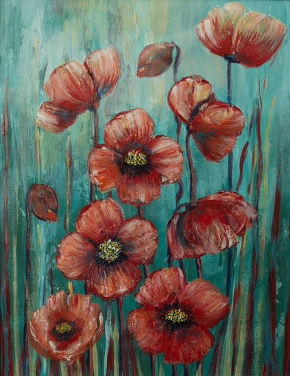 (CreativeWork) Orange Poppies by Cherilyn Sutton. arcylic-painting. Shop online at Bluethumb.