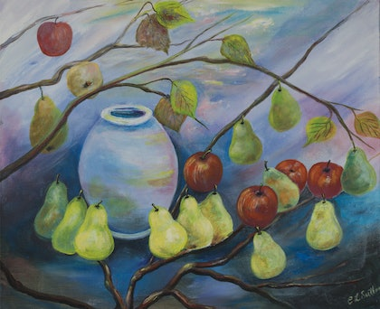(CreativeWork) Pot, Pears and Pommes by Cherilyn Sutton. arcylic-painting. Shop online at Bluethumb.
