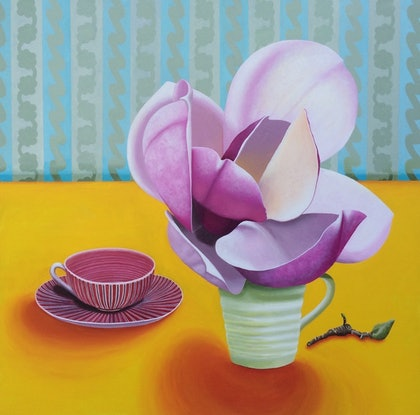(CreativeWork) Still life with magnolia(s)  by Libby Moore. arcylic-painting. Shop online at Bluethumb.