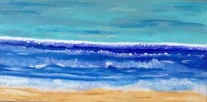 (CreativeWork) Wild waves by Deryal mehmet. arcylic-painting. Shop online at Bluethumb.