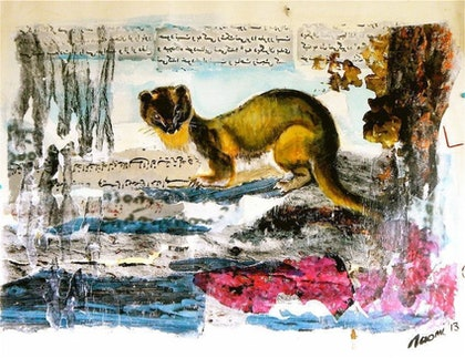 (CreativeWork) Give us this day our daily stoat by Naomi Radunski. mixed-media. Shop online at Bluethumb.