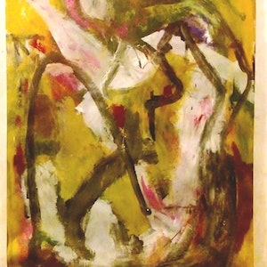 (CreativeWork) pink and yellow  by Matthew Simmons. arcylic-painting. Shop online at Bluethumb.