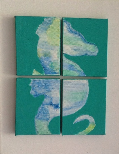 (CreativeWork) WATER SEAHORSE by Deryal mehmet. watercolour. Shop online at Bluethumb.