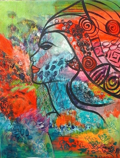 (CreativeWork) The Mind of a Woman by Lindy Boyle. arcylic-painting. Shop online at Bluethumb.