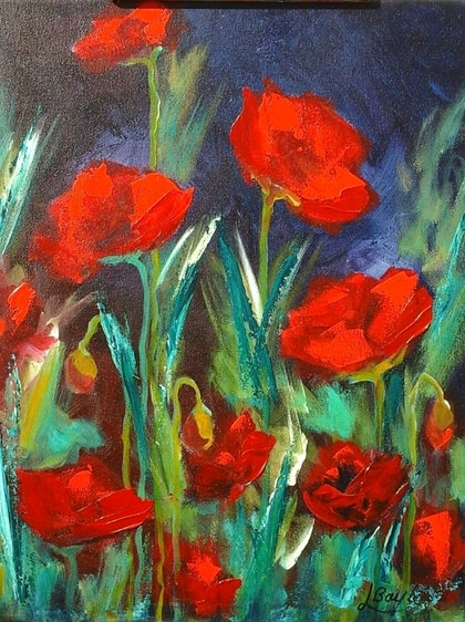(CreativeWork) Poppies in the Red by Lindy Boyle. arcylic-painting. Shop online at Bluethumb.