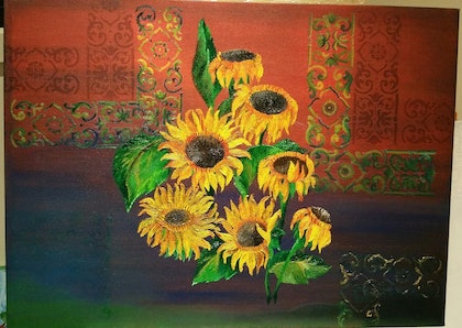(CreativeWork) Sunflowers  by Janna Apozyan. oil-painting. Shop online at Bluethumb.