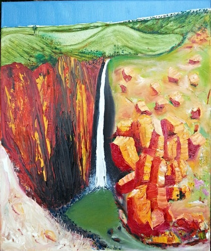 (CreativeWork) Hidden Falls by Anthony Marshall. oil-painting. Shop online at Bluethumb.