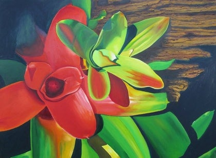 (CreativeWork) Tropical Design 1 by leonard aitken. oil-painting. Shop online at Bluethumb.