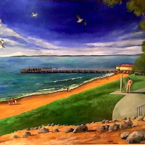 (CreativeWork) Phillip Island Jetty by David Shields. arcylic-painting. Shop online at Bluethumb.
