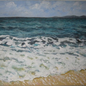 "(CreativeWork) ""The Wave "" by Noeline Machan. arcylic-painting. Shop online at Bluethumb."