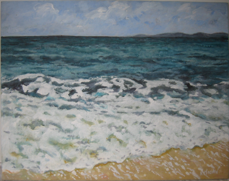 "(CreativeWork) ""The Wave "" by Noeline Machan. acrylic-painting. Shop online at Bluethumb."