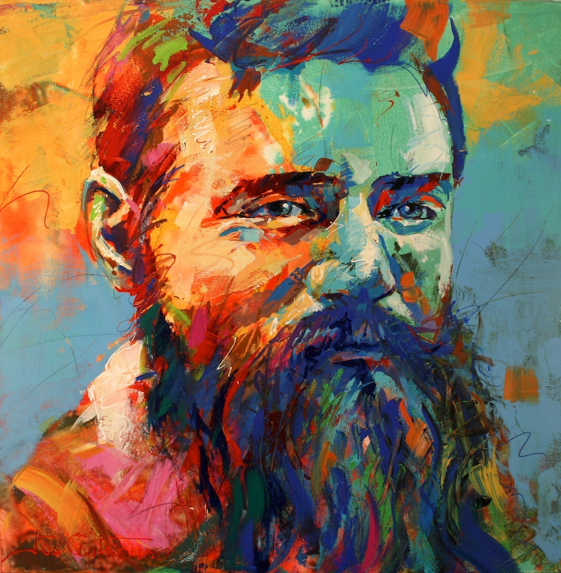 (CreativeWork) Ned Kelly by Jos Coufreur. arcylic-painting. Shop online at Bluethumb.