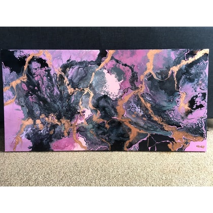 (CreativeWork) Pink sugar by Erica Ruby. arcylic-painting. Shop online at Bluethumb.