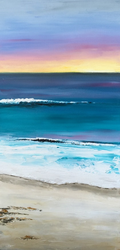 (CreativeWork) Sunrise at Pirates Bay by Mel Andrewartha. oil-painting. Shop online at Bluethumb.